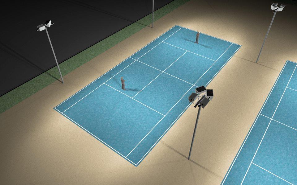 Projeto luminotécnico de um quadra de tênis
